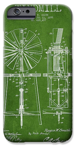 Windmills iPhone Cases - Windmill Patent Drawing From 1899 - Green iPhone Case by Aged Pixel