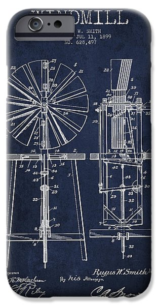 Windmills iPhone Cases - Windmill Patent Drawing From 1899 - Navy Blue iPhone Case by Aged Pixel
