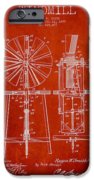Windmills iPhone Cases - Windmill Patent Drawing From 1899 - Red iPhone Case by Aged Pixel