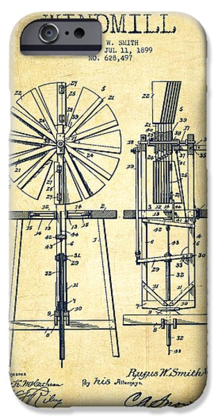 Windmills iPhone Cases - Windmill Patent Drawing From 1899 - Vintage iPhone Case by Aged Pixel