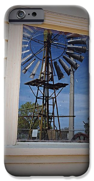 Machinery iPhone Cases - Windmill reflections iPhone Case by Katrina Dimond