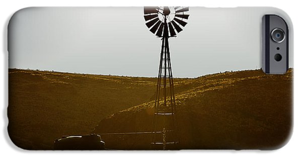 Windmills iPhone Cases - Windmill Water Pump Texas iPhone Case by Christine Till