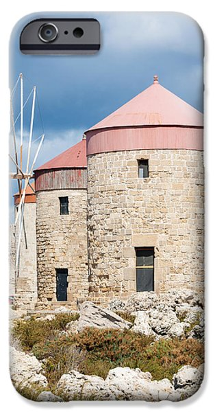 Mandraki iPhone Cases - Windmills in Rhodes iPhone Case by Brigida Soriano