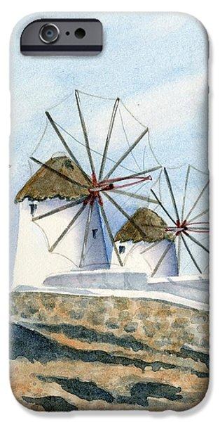 Greece iPhone Cases - Windmills of Mykonos iPhone Case by Marsha Elliott