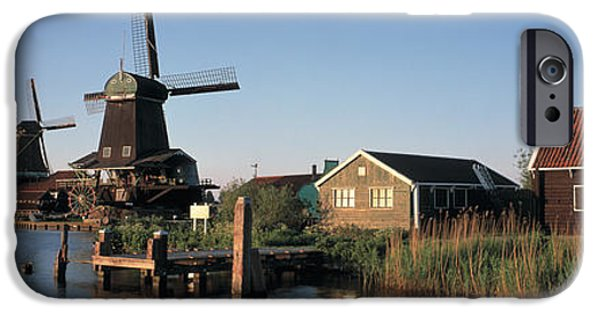 Reconstruction iPhone Cases - Windmills Zaanstreek Netherlands iPhone Case by Panoramic Images