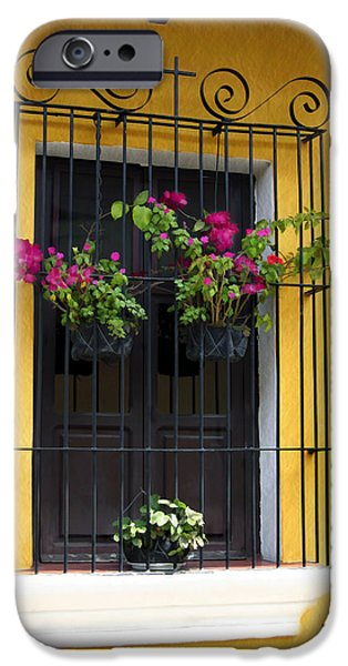 Recent iPhone Cases - Window at Old Antigua Guatemala iPhone Case by Kurt Van Wagner