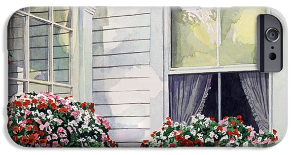 Boxes Paintings iPhone Cases - Window Boxes iPhone Case by David Lloyd Glover