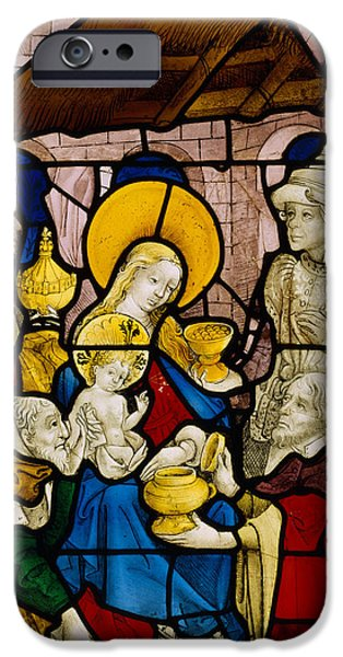 Nativity Paintings iPhone Cases - Window depicting the Adoration of the Kings iPhone Case by Flemish School