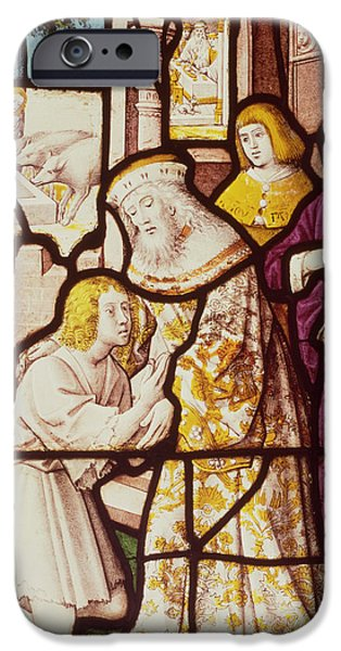 Parable iPhone Cases - Window Depicting The Return Of The Prodigal Son, Cologne School Stained Glass iPhone Case by German School
