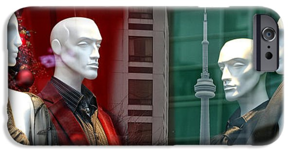 Model iPhone Cases - Window Display in Toronto at Christmas Time iPhone Case by Randall Nyhof