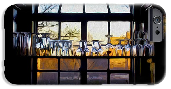 Wine Service iPhone Cases - Window In a Bar iPhone Case by Tom Kostro