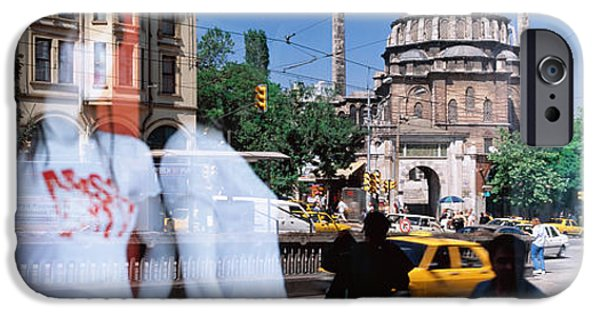 Store Fronts iPhone Cases - Window Reflection, Istanbul, Turkey iPhone Case by Panoramic Images