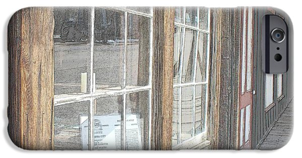Old Barn Drawing iPhone Cases - Window Shopping          Colored Pencil iPhone Case by Mark Eisenbeil