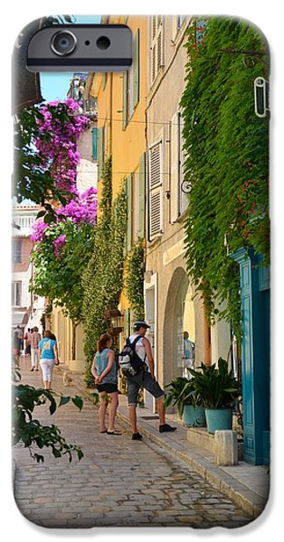 St.tropez iPhone Cases - Window Shopping in St Tropez iPhone Case by Corinne Rhode