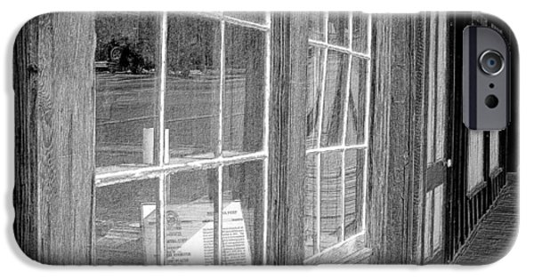 Old Barn Drawing iPhone Cases - Window Shopping        Pencil iPhone Case by Mark Eisenbeil