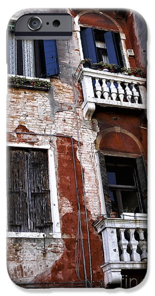 Venetian Balcony iPhone Cases - Window Sizes in Venice iPhone Case by John Rizzuto