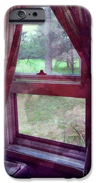 Cabin Window Digital iPhone Cases - Window Still iPhone Case by Lynellen Nielsen