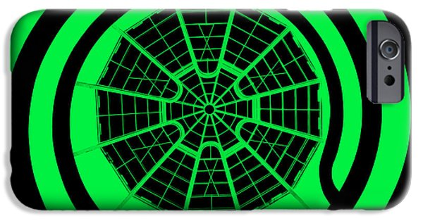 Stripes Digital Art iPhone Cases - Window To Another World In Green - Black iPhone Case by Az Jackson