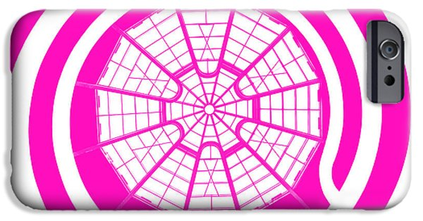 Stripes Digital Art iPhone Cases - Window To Another World In Pink iPhone Case by Az Jackson