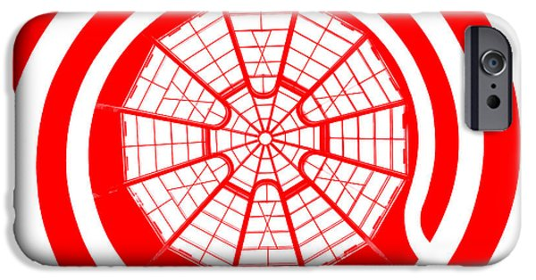 Looking Digital Art iPhone Cases - Window To Another World In Red iPhone Case by Az Jackson