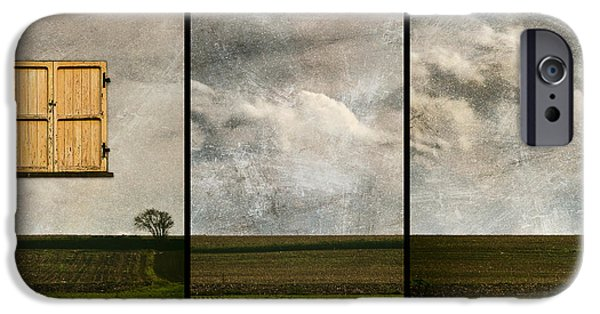 Facade Digital iPhone Cases - Window to Farmland Triptych iPhone Case by Wim Lanclus