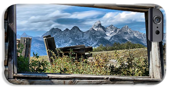 Cabin Window Paintings iPhone Cases - Window to the Tetons iPhone Case by Nena Trapp