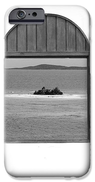 Window View of Desert Island Puerto Rico Prints Black and White iPhone Case by Shawn O'Brien