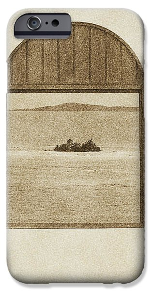 Window View of Desert Island Puerto Rico Prints Vintage iPhone Case by Shawn O'Brien