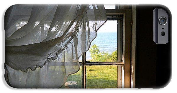 Gregory House iPhone Cases - Window View of Lake Erie iPhone Case by Kathy Barney