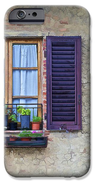 Window with Potted Plants of Rural Tuscany iPhone Case by David Letts