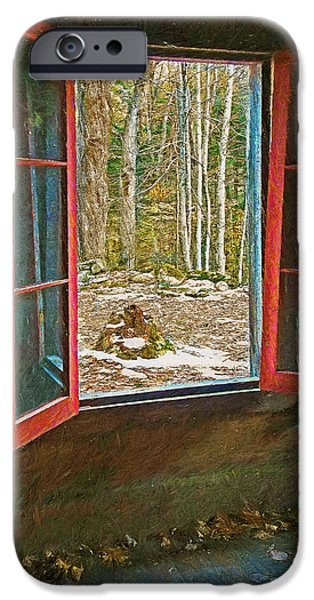 Cabin Window Digital Art iPhone Cases - Window with View Abandoned Elkmont Log Cabin Autumn iPhone Case by Rebecca Korpita