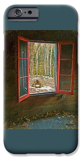Cabin Window Digital iPhone Cases - Window with View Abandoned Elkmont Log Cabin Autumn iPhone Case by Rebecca Korpita