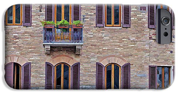 David iPhone Cases - Windows of a Tuscan Office Building iPhone Case by David Letts