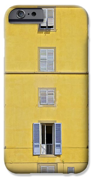 Balcony iPhone Cases - Windows of Florence Against a Faded Yellow Plaster Wall iPhone Case by David Letts