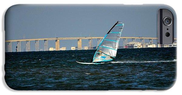 Bay Bridge iPhone Cases - Windsailing by JFK Causeway iPhone Case by Kristina Deane