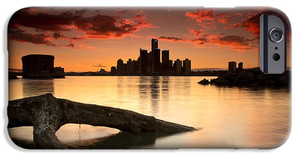 Centre iPhone Cases - Windsor and Detroit Sunset iPhone Case by Cale Best