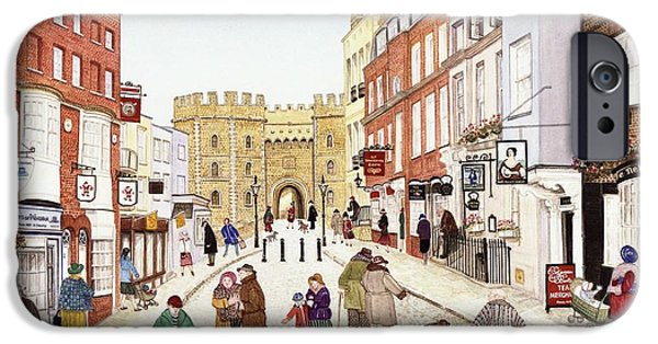 Shop Window iPhone Cases - Windsor Castle, 1989 Watercolour On Paper iPhone Case by Gillian Lawson
