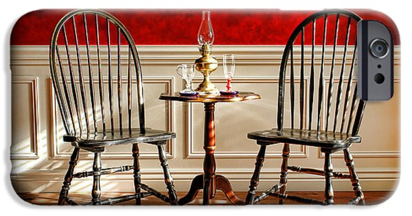Furniture Photographs iPhone Cases - Windsor Chairs iPhone Case by Olivier Le Queinec