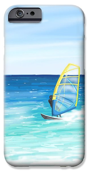 Wave iPhone Cases - Windsurf iPhone Case by Veronica Minozzi