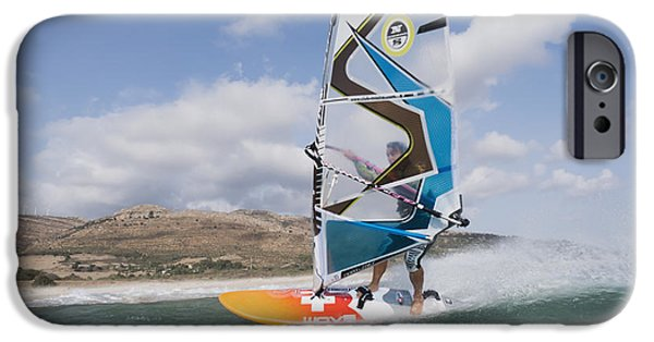Sail Board iPhone Cases - Windsurfer Along The Coast Tarifa Cadiz iPhone Case by Ben Welsh