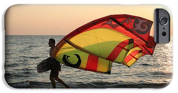 Chatham iPhone Cases - Windsurfer at Sunset iPhone Case by John Turek