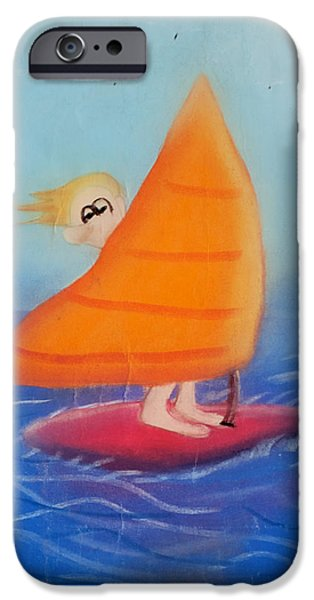 Seagull Pastels iPhone Cases - Windsurfer Dude iPhone Case by Joshua Maddison