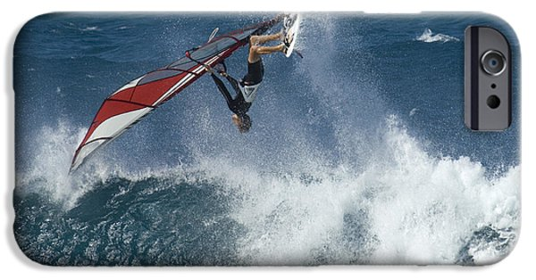 Windsurfer iPhone Cases - Windsurfer Hanging In iPhone Case by Bob Christopher