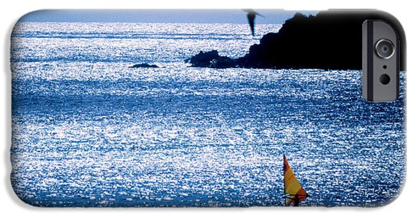 Sail Board iPhone Cases - Windsurfer In The Sea, Sint Maarten iPhone Case by Panoramic Images