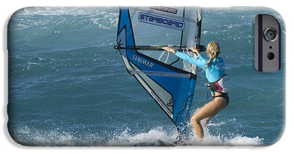Windsurfer iPhone Cases - Windsurfer Setting Out Hawaii iPhone Case by Bob Christopher