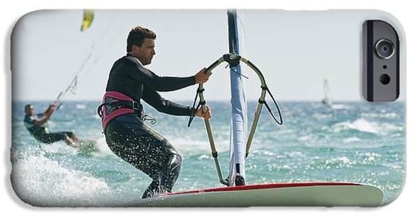 Windsurfer iPhone Cases - Windsurfers In The Water Off Punta iPhone Case by Ben Welsh