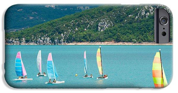 Sail Board iPhone Cases - Windsurfers On The Lake, Lac De Sainte iPhone Case by Panoramic Images