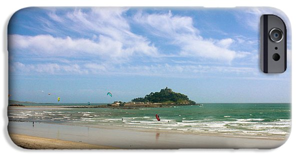 Sand Castles iPhone Cases - Windsurfing Around St Michaels Mount iPhone Case by Terri  Waters