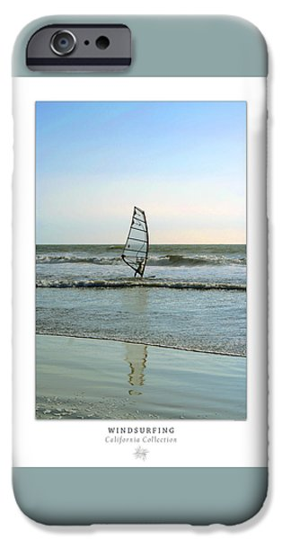 Windsurfer iPhone Cases - Windsurfing Art Poster - California Collection iPhone Case by Ben and Raisa Gertsberg