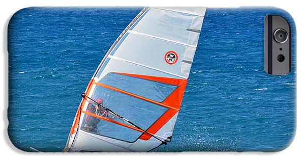 Windsurfer iPhone Cases - Windsurfing at Kiholo iPhone Case by Lori Seaman